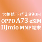 大幅値下げ 2,990円 OPPO A73 eSIM DSDV【IIJmio】 ~8/31